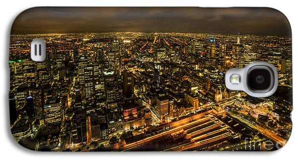 Business Galaxy S4 Cases - Melbourne at Night Galaxy S4 Case by Ray Warren