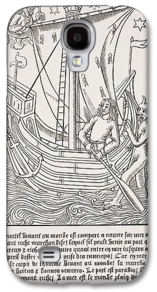 Bad Drawing Galaxy S4 Cases - Merchant Vessel In A Storm. Facsimile Galaxy S4 Case by Ken Welsh