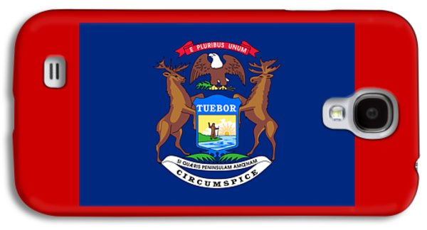 Waving Flag Mixed Media Galaxy S4 Cases - Michigan Flag Galaxy S4 Case by Frederick Holiday
