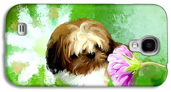 Dogs Digital Art Galaxy S4 Cases - Miracle of a flower Galaxy S4 Case by Richard Okun