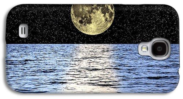 Sea Moon Full Moon Galaxy S4 Cases - Moon Over The Sea, Composite Image Galaxy S4 Case by Victor de Schwanberg