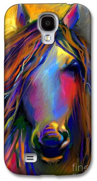 Svetlana Novikova Digital Galaxy S4 Cases - Mustang horse painting Galaxy S4 Case by Svetlana Novikova