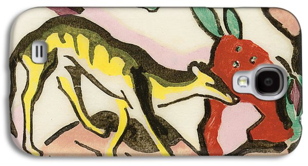 Abstract Movement Drawings Galaxy S4 Cases - Mythical animal Galaxy S4 Case by Franz Marc