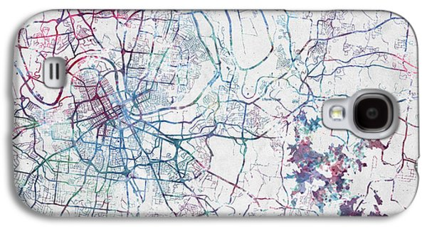 Nashville Map Painting Galaxy S4 Case by Map Map Maps