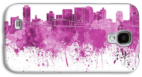 Nashville Skyline In Pink Watercolor On White Background Galaxy S4 Case by Pablo Romero