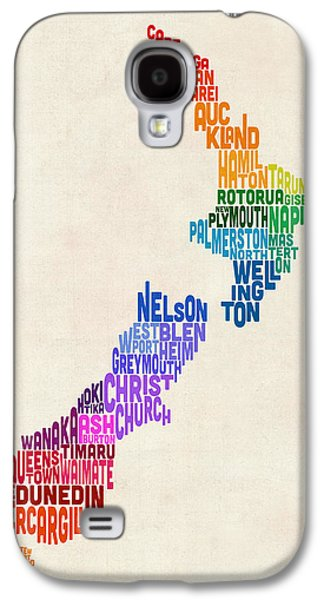 New Zealand Typography Text Map Galaxy S4 Case by Michael Tompsett