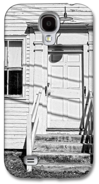 Old Maine Houses Galaxy S4 Cases - Old Door And Steps Black and White Photo Galaxy S4 Case by Keith Webber Jr