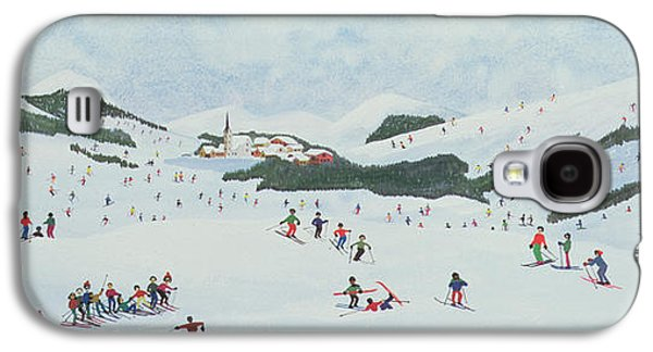 Winter Wonderland Paintings Galaxy S4 Cases - On The Slopes Galaxy S4 Case by Judy Joel