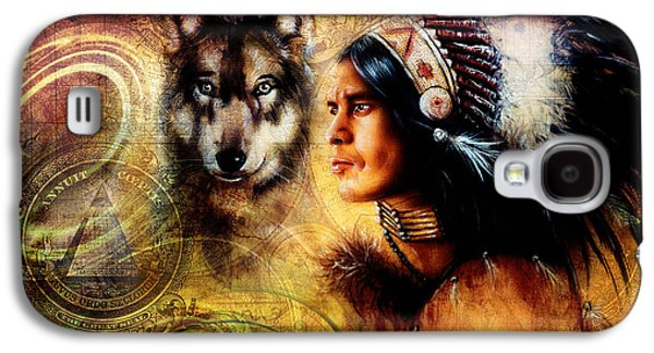 Native American Spirit Portrait Digital Galaxy S4 Cases - One Dollar Collage With Indian Man Warrior With Wolf Ornament Background Galaxy S4 Case by Jozef Klopacka