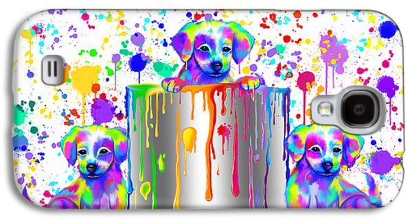 Painted Puppies  Galaxy S4 Case by Nick Gustafson