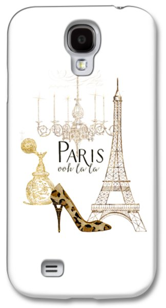 Bathroom Prints Galaxy S4 Cases - Paris - Ooh la la Fashion Eiffel Tower Chandelier Perfume Bottle Galaxy S4 Case by Audrey Jeanne Roberts