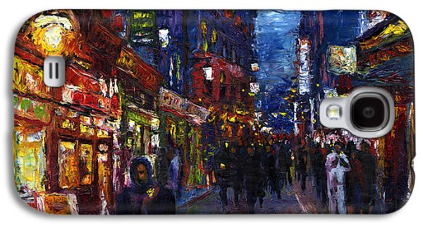 Night Paintings Galaxy S4 Cases - Paris Quartier Latin 01 Galaxy S4 Case by Yuriy  Shevchuk