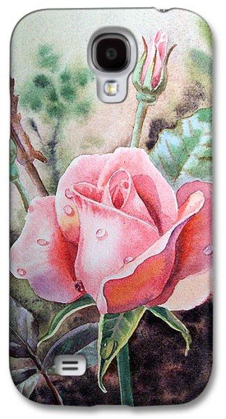 Printmaking Galaxy S4 Cases - Pink Rose with Dew Drops Galaxy S4 Case by Irina Sztukowski