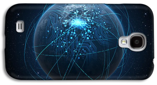 Planet With Illuminated Network And Light Trails Galaxy S4 Case by Allan Swart