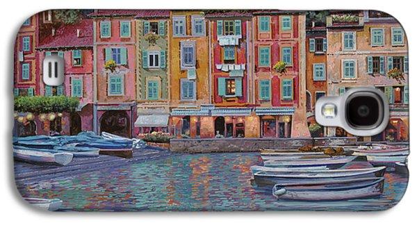Night Paintings Galaxy S4 Cases - Portofino al crepuscolo Galaxy S4 Case by Guido Borelli