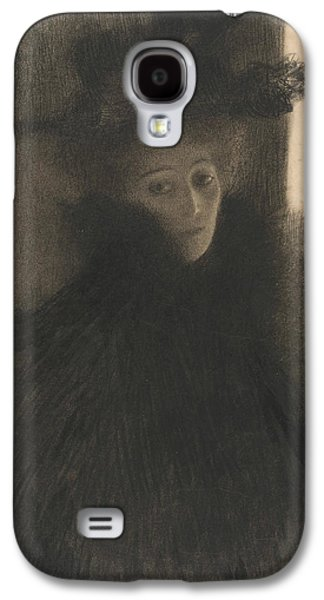 Portrait Of A Lady With Cape And Hat  Galaxy S4 Case by Gustav Klimt