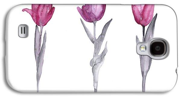 Purple Tulips Watercolor Painting Galaxy S4 Case by Joanna Szmerdt