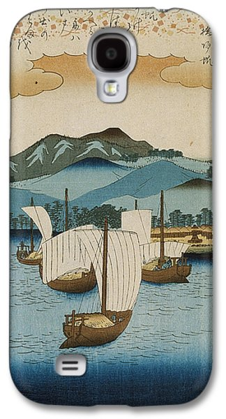 Harbor Drawings Galaxy S4 Cases - Returning Sails at Yabase Galaxy S4 Case by Hiroshige
