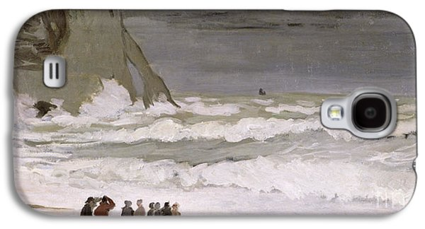 Crowd Galaxy S4 Cases - Rough Sea at Etretat Galaxy S4 Case by Claude Monet