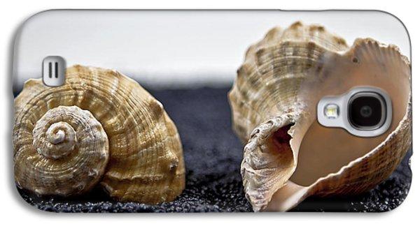Sand Galaxy S4 Cases - Seashells On Black Sand Galaxy S4 Case by Joana Kruse