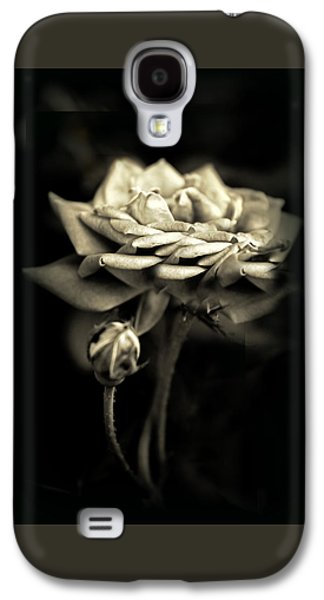Monochromatic Digital Galaxy S4 Cases - Sepia Rose Galaxy S4 Case by Jessica Jenney