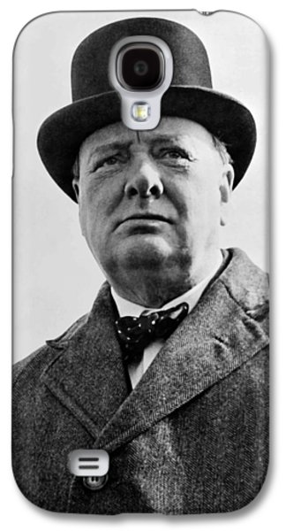 Warishellstore Paintings Galaxy S4 Cases - Sir Winston Churchill Galaxy S4 Case by War Is Hell Store