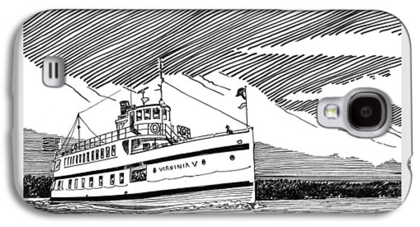 20th Drawings Galaxy S4 Cases - Steamship Virginia V Galaxy S4 Case by Jack Pumphrey