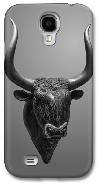 Black Sculptures Galaxy S4 Cases - Stone Bulls Head of Ryton Galaxy S4 Case by Jebulon