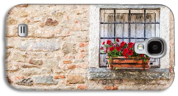 Italian Wine Paintings Galaxy S4 Cases - Stone Window of Cortona  Galaxy S4 Case by David Letts
