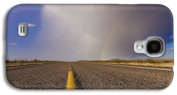 Ground Level Galaxy S4 Cases - Storm and Rainbow Along the Highway Galaxy S4 Case by Jeremy Woodhouse