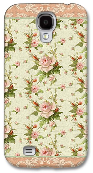 Upscale Galaxy S4 Cases - Summer at Cape May - Aged Modern Roses Pattern Galaxy S4 Case by Audrey Jeanne Roberts