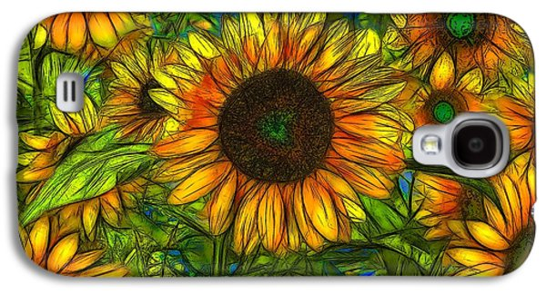 Nature Abstracts Galaxy S4 Cases - Sunflowers Galaxy S4 Case by Jean-Marc Lacombe