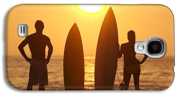 Gordon Photographs Galaxy S4 Cases - Surfer SIlhouettes Galaxy S4 Case by Larry Dale Gordon - Printscapes