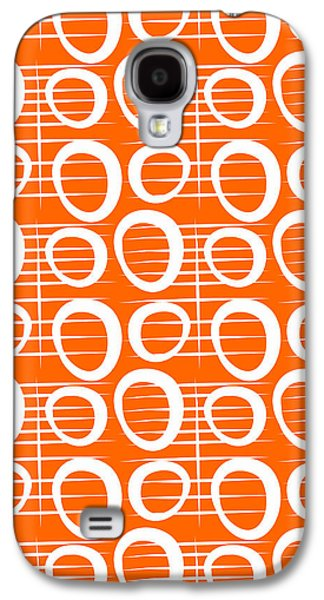 Patterned Mixed Media Galaxy S4 Cases - Tangerine Loop Galaxy S4 Case by Linda Woods