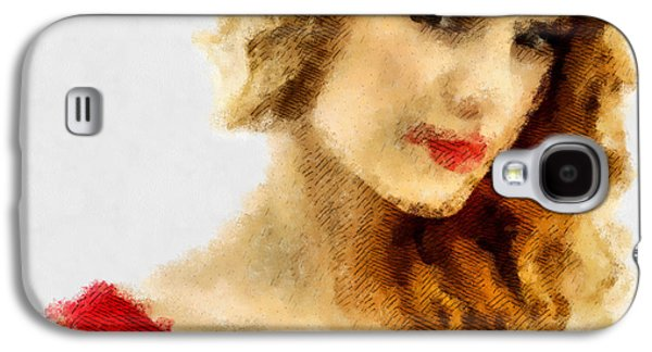 Taylor Swift Paintings Galaxy S4 Cases - Taylor Swift Painting On Canvas Galaxy S4 Case by Sir Josef  Putsche Social Critic