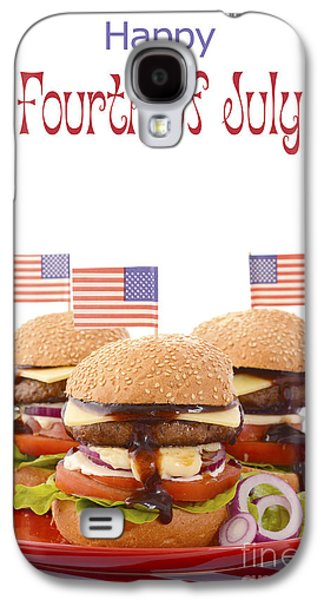 American Independance Galaxy S4 Cases - The Great BBQ Hamburger with Flags Galaxy S4 Case by Milleflore Images