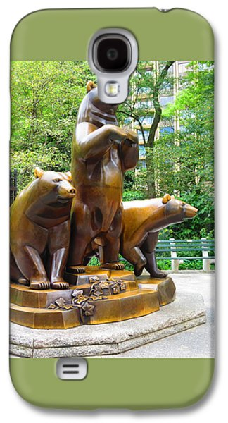 Print Sculptures Galaxy S4 Cases - Three Bronze Sculpture Statue of Bears great attraction at New York NY Central Park by NavinJoshi Galaxy S4 Case by Navin Joshi