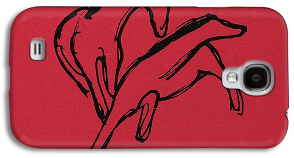 Abstract Movement Drawings Galaxy S4 Cases - Two Horses Galaxy S4 Case by Franz Marc