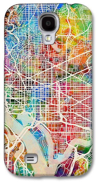 Urban Street Galaxy S4 Cases - Washington DC Street Map Galaxy S4 Case by Michael Tompsett