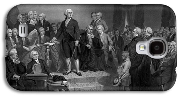 Revolutionary War Mixed Media Galaxy S4 Cases - Washington Delivering His Inaugural Address Galaxy S4 Case by War Is Hell Store