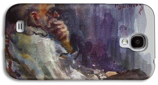 Old Man Galaxy S4 Cases - Man Watching TV  Galaxy S4 Case by Ylli Haruni