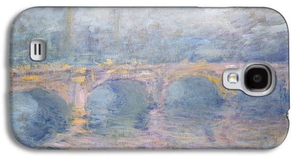 Misty Prints Galaxy S4 Cases - Waterloo Bridge London at Sunset Galaxy S4 Case by Claude Monet