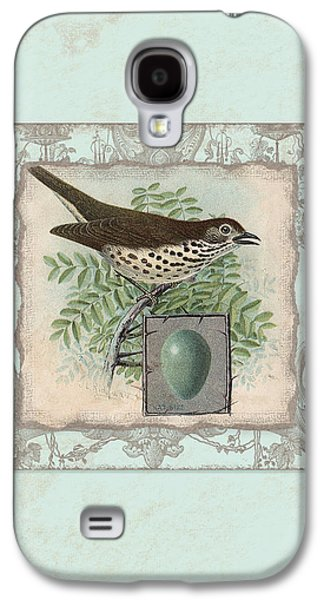 Hand Drawn Galaxy S4 Cases - Welcome to our Nest - Vintage Bird w Egg Galaxy S4 Case by Audrey Jeanne Roberts