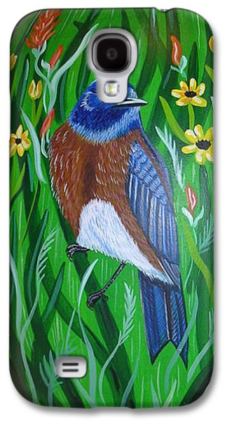 Bird Ceramics Galaxy S4 Cases - Western Bluebird Galaxy S4 Case by Jennifer Lake