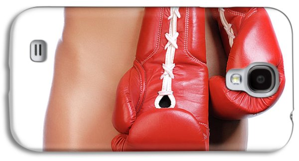 Provocative Photographs Galaxy S4 Cases - Woman with Boxing Gloves Galaxy S4 Case by Oleksiy Maksymenko