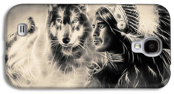 Native American Spirit Portrait Digital Galaxy S4 Cases - Young Indian Warrior Accompanied With Two Wolves Galaxy S4 Case by Jozef Klopacka