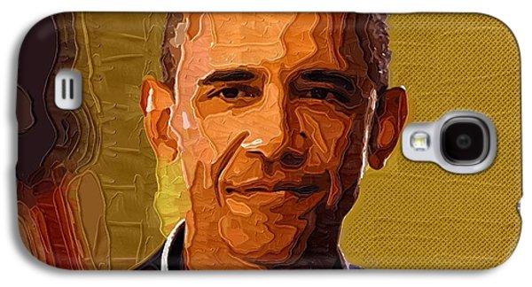 Barack Obama Digital Galaxy S4 Cases - Barack Obama Portrait Galaxy S4 Case by Victor Gladkiy