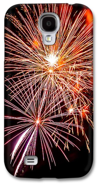 4th July Galaxy S4 Cases - Colorful fireworks on the black sky Galaxy S4 Case by Nelson Charette