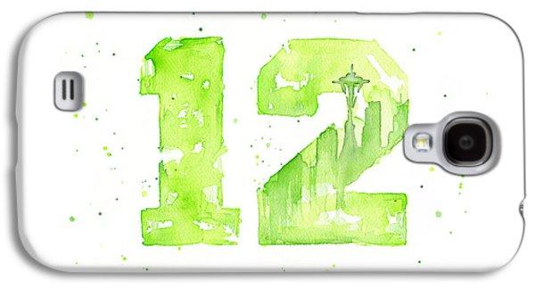 Fan Paintings Galaxy S4 Cases - 12th Man Seahawks Art GO HAWKS Galaxy S4 Case by Olga Shvartsur