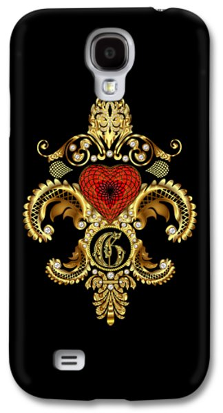 4th July Mixed Media Galaxy S4 Cases - Fleur-de-lis 3 Monograms Duvets Transparent Back Pick Color Galaxy S4 Case by Bill Campitelle